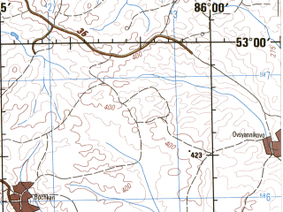 Reduced fragment of topographic map en--jog--250k--nn45-10--(1975)--N053-00_E084-00--N052-00_E086-00; towns and cities Biysk, Verkhnyaya Borovlyanka, Troitskoye, Nizhnekamenka, Zonalnoye