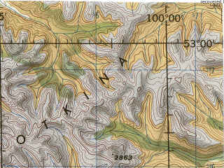 Reduced fragment of topographic map en--jog--250k--nn47-11--(1975)--N053-00_E098-00--N052-00_E100-00; towns and cities Orlik