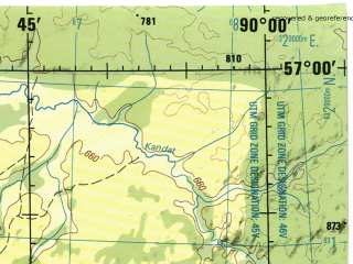 Reduced fragment of topographic map en--jog--250k--no45-12--(1975)--N057-00_E088-00--N056-00_E090-00; towns and cities Bogotol, Suslovo, Teplaya, Tundinka