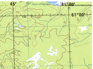 Reduced fragment of topographic map en--jog--250k--np43_44-15--(1975)--N061-00_E078-00--N060-00_E081-00; towns and cities Topolevka, Yergankina, Lobchinskiye
