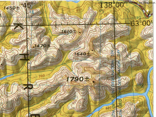 Reduced fragment of topographic map en--jog--250k--np53_54-06--(1975)--N063-00_E135-00--N062-00_E138-00 in area of Tyry; towns and cities Khandyga, Asykay, Dzebariki-khaya, Teplyy Klyuch