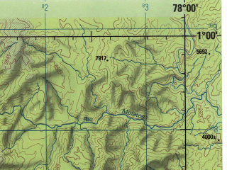 Reduced fragment of topographic map en--jog--250k--sa17-08--(1990)--S001-00_W079-30--S002-00_W078-00; towns and cities Ambato, Quevedo, Riobamba, Pelileo, Pillaro