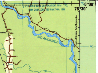 Reduced fragment of topographic map en--jog--250k--sa18-01--(1990)--N000-00_W078-00--S001-00_W076-30 in area of Rio Coco; towns and cities Sarayacu, Tena, Archidona