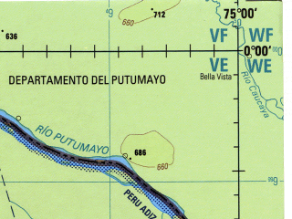 Reduced fragment of topographic map en--jog--250k--sa18-02--(1990)--N000-00_W076-30--S001-00_W075-00 in area of Rio Aguarico; towns and cities Tambo Nuevo, Tiputini, Anangu