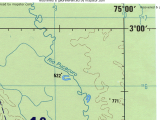 Reduced fragment of topographic map en--jog--250k--sa18-14--(1971)--S003-00_W076-30--S004-00_W075-00; towns and cities Guagramono, Platanoyacu, Puerto Pardo