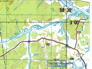 Reduced fragment of topographic map en--jog--250k--sa21-13--(1996)--S003-00_W060-00--S004-00_W058-30 in area of Purus, Rio Juma; towns and cities Abacaxis, Amatari, Mura