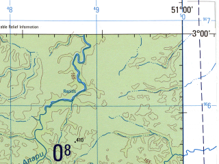 Reduced fragment of topographic map en--jog--250k--sa22-14--(1990)--S003-00_W052-30--S004-00_W051-00; towns and cities Altamira, Sao Vincente, Ambe