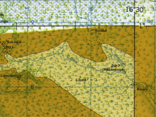 Reduced fragment of topographic map en--jog--250k--sa33-07--(1966)--S001-00_E015-00--S002-00_E016-30; towns and cities Mossende, Moudni, Alembe