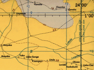 Reduced fragment of topographic map en--jog--250k--sa34-08--(1966)--S001-00_E022-30--S002-00_E024-00; towns and cities Yalifafu, Yalokuli, Yalola
