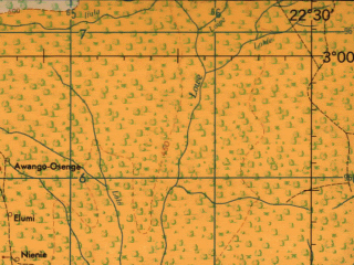 Reduced fragment of topographic map en--jog--250k--sa34-15--(1966)--S003-00_E021-00--S004-00_E022-30; towns and cities Bololo, Ishenga Oswe, Kembi