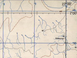 Reduced fragment of topographic map en--jog--250k--sa35-06--(1966)--S001-00_E025-30--S002-00_E027-00 in area of Lubutu; towns and cities Mulimatshungu, Kaminamina, Ngeleza
