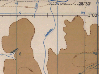 Reduced fragment of topographic map en--jog--250k--sa35-07--(1966)--S001-00_E027-00--S002-00_E028-30 in area of Luhoho; towns and cities Bulindu, Matenda, Donga