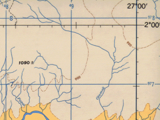 Reduced fragment of topographic map en--jog--250k--sa35-10--(1966)--S002-00_E025-30--S003-00_E027-00; towns and cities Kabela, Lubile, Lungu