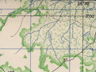 Reduced fragment of topographic map en--jog--250k--sa35-13--(1966)--S003-00_E024-00--S004-00_E025-30; towns and cities Ngelu Viundi, Enyamba, Olemba