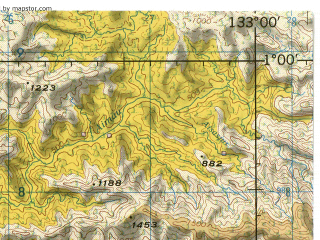 Reduced fragment of topographic map en--jog--250k--sa53-05--(1967)--S001-00_E131-30--S002-00_E133-00; towns and cities Koewawin, Semariak, Lokata