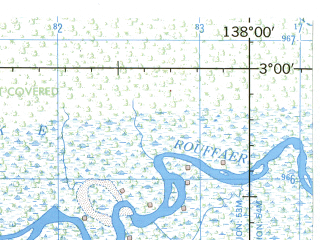 Reduced fragment of topographic map en--jog--250k--sa53-16--(1967)--S003-00_E136-30--S004-00_E138-00; towns and cities Jebegot, Motorbivak, Splitsingbivak