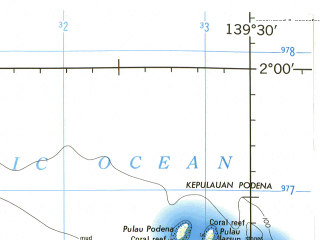 Reduced fragment of topographic map en--jog--250k--sa54-09--(1967)--S002-00_E138-00--S003-00_E139-30; towns and cities Kedir, Podena, Takar