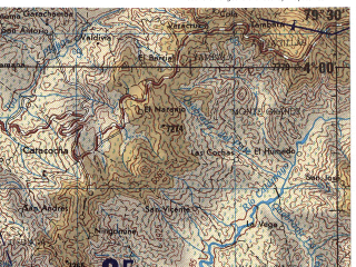 Reduced fragment of topographic map en--jog--250k--sb17-03--(1971)--S004-00_W081-00--S005-00_W079-30 in area of Embalse Poechos; towns and cities Sullana, Bellavista, Querecotillo, Suyo, Las Lomas