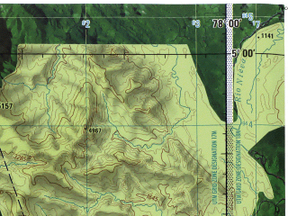 Reduced fragment of topographic map en--jog--250k--sb17-08--(1971)--S005-00_W079-30--S006-00_W078-00 in area of Rio Chinchipe; towns and cities Huancabamba, Jaen, Jamalca
