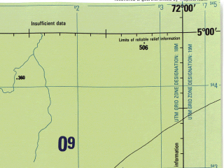 Reduced fragment of topographic map en--jog--250k--sb18-08--(1971)--S005-00_W073-30--S006-00_W072-00; towns and cities Elvira, Toledo, Desahaga