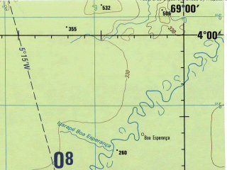 Reduced fragment of topographic map en--jog--250k--sb19-02--(1990)--S004-00_W070-30--S005-00_W069-00 in area of Rio Yavari; towns and cities Benjamin Constant, Bos Esperanca, Capacete