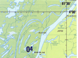 Reduced fragment of topographic map en--jog--250k--sb20-03--(1990)--S004-00_W063-00--S005-00_W061-30 in area of Lago Aiapua; towns and cities Mamia, Moibanba, Paricatuba