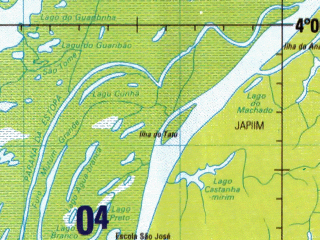 Reduced fragment of topographic map en--jog--250k--sb20-03--(1993)--S004-00_W063-00--S005-00_W061-30 in area of Lago Aiapua; towns and cities Moibanba, Paricatuba, Redencao