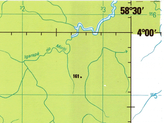 Reduced fragment of topographic map en--jog--250k--sb21-01--(1993)--S004-00_W060-00--S005-00_W058-30; towns and cities Entre Rios, Jabuti, Jeronimo