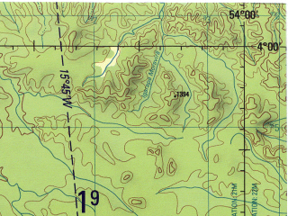 Reduced fragment of topographic map en--jog--250k--sb21-04--(1990)--S004-00_W055-30--S005-00_W054-00; towns and cities Carajari, Paga-conta, Sem-tripa
