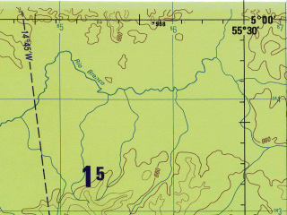 Reduced fragment of topographic map en--jog--250k--sb21-07--(1990)--S005-00_W057-00--S006-00_W055-30; towns and cities Bacabai, Santa Helena, Bom Jardim