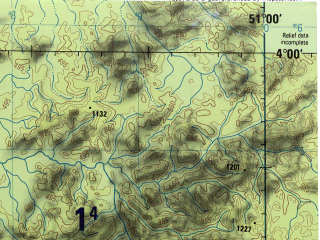 Reduced fragment of topographic map en--jog--250k--sb22-02--(1990)--S004-00_W052-30--S005-00_W051-00; towns and cities Saba, Terra Preta, Flor Do Gaucho