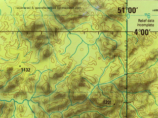 Reduced fragment of topographic map en--jog--250k--sb22-02--(1993)--S004-00_W052-30--S005-00_W051-00; towns and cities Flor Do Gaucho, Lontra, Monte Libano