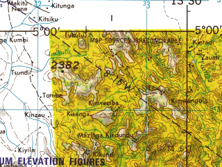 Reduced fragment of topographic map en--jog--250k--sb33-05--(1967)--S005-00_E012-00--S006-15_E013-30; towns and cities Chimbuande, Coba, Noqui