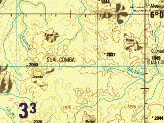 Reduced fragment of topographic map en--jog--250k--sb33-11--(1981)--S006-00_E015-00--S007-00_E016-30; towns and cities Quissaca, Buenga Sul, Camatambo