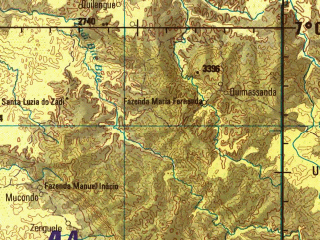 Reduced fragment of topographic map en--jog--250k--sb33-14--(1978)--S007-00_E013-30--S008-00_E015-00; towns and cities Nova Caipemba, Quimbumbe