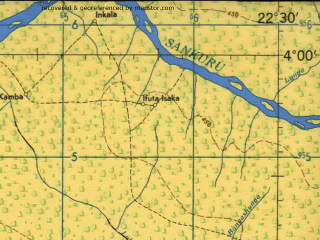 Reduced fragment of topographic map en--jog--250k--sb34-03--(1966)--S004-00_E021-00--S005-00_E022-30 in area of Lubudi; towns and cities Ibende, Bakwa-kasanga, Malembe