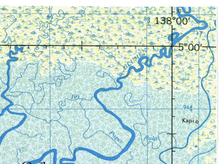 Reduced fragment of topographic map en--jog--250k--sb53-08--(1967)--S005-00_E136-30--S006-00_E138-00; towns and cities Jofar