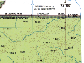 Reduced fragment of topographic map en--jog--250k--sc18-12--(1971)--S010-00_W073-30--S011-00_W072-00; towns and cities Colonia Penal Del Sepa, Puesto Varadero