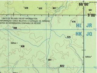 Reduced fragment of topographic map en--jog--250k--sc19-08--(1990)--S009-00_W067-30--S010-00_W066-00; towns and cities Bom Futuro, Pico Central, Pontao
