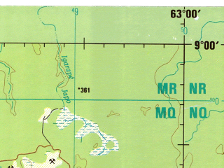 Reduced fragment of topographic map en--jog--250k--sc20-06--(1996)--S009-00_W064-30--S010-00_W063-00; towns and cities Abraao, Sao Carlos, Ariquemes