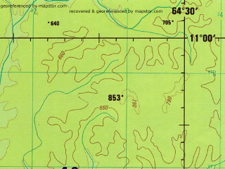 Reduced fragment of topographic map en--jog--250k--sc20-13--(1994)--S011-00_W066-00--S012-00_W064-30; towns and cities Barrera Grande, Boa Hora, Coimbra
