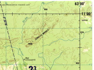 Reduced fragment of topographic map en--jog--250k--sc20-14--(1990)--S011-00_W064-30--S012-00_W063-00; towns and cities Belo Horizonte, Cataguema, Porto Bicentenario