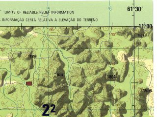 Reduced fragment of topographic map en--jog--250k--sc20-15--(1990)--S011-00_W063-00--S012-00_W061-30; towns and cities Presidente Hermes