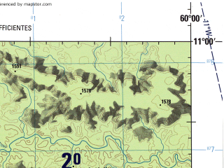 Reduced fragment of topographic map en--jog--250k--sc20-16--(1990)--S011-00_W061-30--S012-00_W060-00