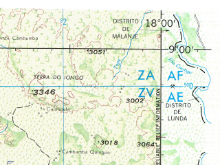 Reduced fragment of topographic map en--jog--250k--sc33-08--(2003)--S009-00_E016-30--S010-00_E018-00; towns and cities Xandel, Cambondo, Catala