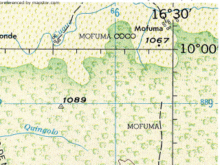Reduced fragment of topographic map en--jog--250k--sc33-11--(1966)--S010-00_E015-00--S011-00_E016-30; towns and cities Cariango, Caue, Gungo