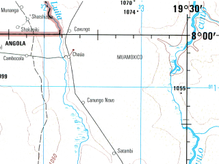Reduced fragment of topographic map en--jog--250k--sc34-01--(1979)--S008-00_E018-00--S009-00_E019-30; towns and cities Samujinga, Sangoia, Chissongombia