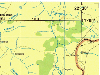 Reduced fragment of topographic map en--jog--250k--sc34-15--(1979)--S011-00_E021-00--S012-00_E022-30; towns and cities Sapito, Suzana, Titima
