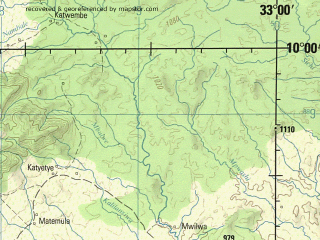 Reduced fragment of topographic map en--jog--250k--sc36-10--(1979)--S010-00_E031-30--S011-00_E033-00; towns and cities Malabi, Malole, Mulema