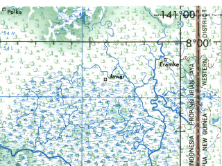 Reduced fragment of topographic map en--jog--250k--sc54-02--(1967)--S008-00_E139-30--S009-00_E141-00; towns and cities Okaba, Urum, Wendu